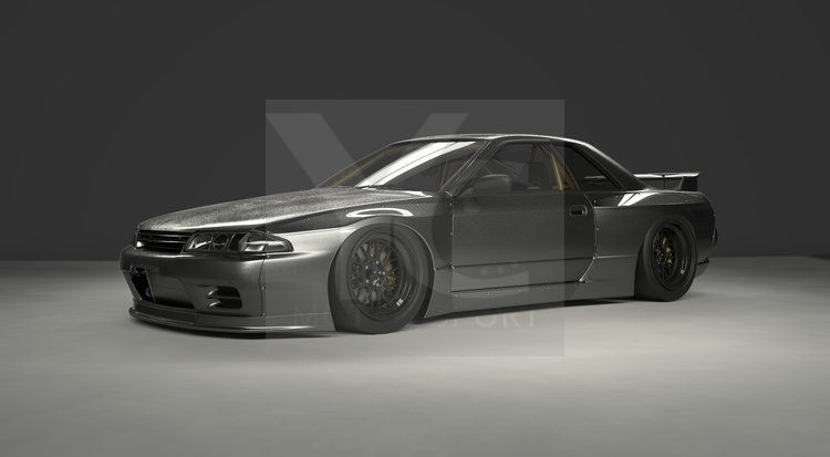 1989-1994 Nissan Skyline R32 GTR GRD PD RB Style Wide Body Kit including  Front Lip, Fender Flare, Side Skirts, Rear Spats & Wing